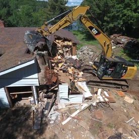 House demolition taken from an aerial drone