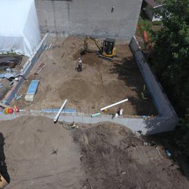 Site foundation construction -- taken from drone